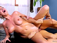 Breathtaking blonde-haired lovely relaxed completely after erotic massage and sex with muscled philanderer 6