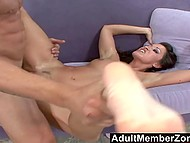 Ravishing brunette fondles with feet muscled swain's boner and satisfies him masterfully 11