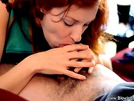Exceptional red-haired Irish lovely gave blowjob to her sweetheart, swallowed cum and drank some beer 10