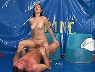 Young colleen managed to satisfy experienced man with her oiled tender body 7