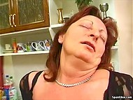Mature lady with red hair made househusband postpone washing the dishes and fuck hirsute twat 4