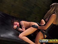 Dominatrix forced skinny prisoner to lick her asshole before penerating obedient pussy with strapon