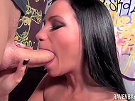 Big-boobied brunette Raven Bay with deep throat sucks hard penis without stopping 5