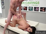 Casting turned to be unusual and applicant was tied and fucked in a rough way