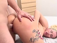 Man heated cunny of wonderful tattooed mistress with huge vibrator and fucked her properly 11