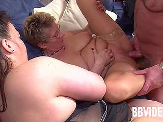 Mature female and her fatty friend have oral sex with middle-aged man from Germany