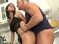 Wonderful raven-haired sexpot pleases with her holes gray middle-aged man in the kitchen 5