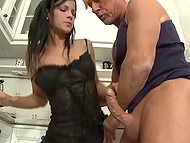 Wonderful raven-haired sexpot pleases with her holes gray middle-aged man in the kitchen 6