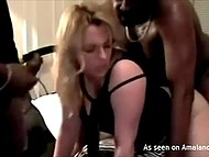 Black blokes are tearing apart white chick's pussy with their huge members 8