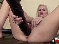 Blonde Brandi Edwards had to buy smaller toy because this black dildo is too huge for her tight pussy 7