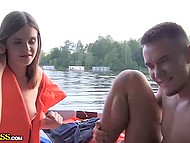 Guys rented a boat to bong Russian whore in life jacket in the middle of the lake 10