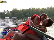 Guys rented a boat to bong Russian whore in life jacket in the middle of the lake 5