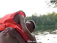 Guys rented a boat to bong Russian whore in life jacket in the middle of the lake 6