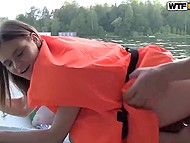Guys rented a boat to bong Russian whore in life jacket in the middle of the lake 8