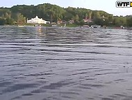 Guys rented a boat to bong Russian whore in life jacket in the middle of the lake 9