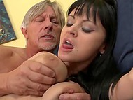 Hardy old man organized long-lasting anal sex for dark-haired colleens with lascivious faces 10