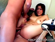 Brunette had no idea that games with dildo could turn into hardcore double penetration 6