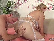 Lustful BBW with golden hair goes naughty because of older man's gentle touches 4