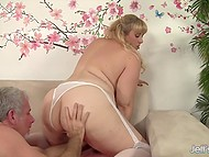 Lustful BBW with golden hair goes naughty because of older man's gentle touches 6