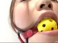 Лысый тип связал японку и стал старательно работать над её кустиком при помощи игрушки и пальцев 4