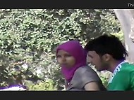 Somebody recorded Mesut Özil fan fucking Muslim girl in hijab from behind in the forest 5