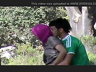 Somebody recorded Mesut Özil fan fucking Muslim girl in hijab from behind in the forest 6