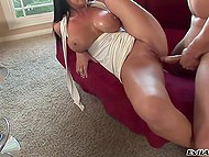 Provocative brunette with deep throat gladly moistened penis and let it go inside shaved twat 4