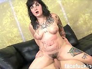 Tattooed bitch is about to lose consciousness being deepthroated by perverted men 10