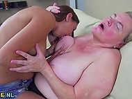 Dirty-minded babe kissed old female hard before got her tender anal hole licked in HD clip 4