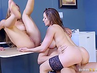 Astonishing doctors Kendra Lust and Nicole Aniston cured skinheaded guy by dint of fervent threesome 10