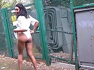 Ebony in see-through dress flashes butt and sissy on camera in broad daylight 11