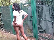 Ebony in see-through dress flashes butt and sissy on camera in broad daylight 5