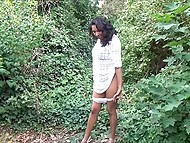 Ebony in see-through dress flashes butt and sissy on camera in broad daylight 6