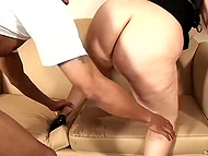 Black inseminator poked bald cave of good-looking BBW and discharged swollen balls inside 4