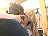 Black employee licked business lady's fanny and asshole in exchange for blowjob 10