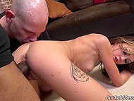 Bald guy has to watch enormous black fuckstick penetrating slutty wife's tight pussy 9