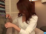 Japanese video with subtitles: shy Kanako Tsuchiyo gives bj on camera for the first time 4