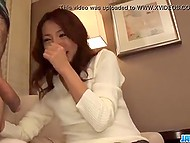 Japanese video with subtitles: shy Kanako Tsuchiyo gives bj on camera for the first time 5