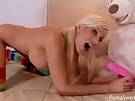Swedish Puma Swede has grown up long ago and her favorite toy is pink dildo, not big teddy bear 3