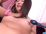 Two men worked on Japanese's pussy and their friends penetrated her mouth and came on breasts 4