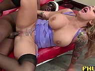 Ebony tempter just entered apartment and his hands reached out to curvy partner's huge breasts 10