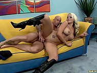 Young slut in high boots smeared sperm of bald fucker on her huge boobs after furious banging 9