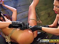 Merciless lesbians chained their new friend and impaled her rosy pussy with strapon 8