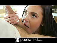 Playful brunette used banana to show by example the tricks she was able to do with boyfriend's cock 5