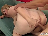 Excess weight of blonde BBW didn't matter for perverted man and he shoved boner in pussy 10