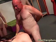 Young prostitute with dreds pretty handles with bunch of lascivious men 5