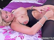 Horny blonde is playing with her aroused pussy in front of camera blowing viewers' minds 10