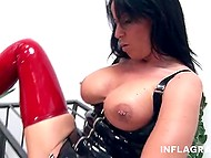 Filthy lass is dominating over sex slave in gas mask who humbly performs all of her commands