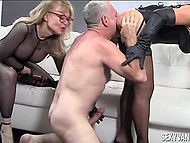 Ladies make their slave lick pussies and fuck them while spanking him to not let relax