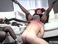Ladies make their slave lick pussies and fuck them while spanking him to not let relax 7